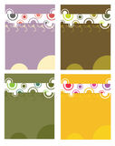 Circular page design backgroun. Whimsical vertical dot and circle design on four variations royalty free illustration