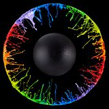 Circular Paint splashes generated from a speaker royalty free stock photography