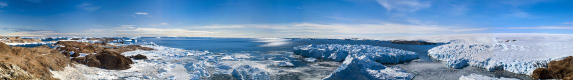 Circular panorama and just air .On ice floes, terrain and scenery Antarctic .Sunrise, day, sunset. Shooting with quadrocopter stock photo