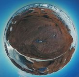Circular panorama and just air .On ice floes, terrain and scenery Antarctic .Sunrise, day, sunset. stock photos