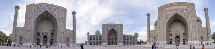 Perspective circular panorama of The Registan, Samarkand, Uzbeki stock photo