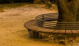 Circular park bench with iron rail backrest around a large tree. With autumn leaves scattered on the ground Stock Photography