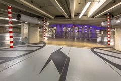 Circular parking garage mall stock photography