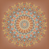 Circular pattern - 2. Round multicolor lace pattern on a brown background Stock Images