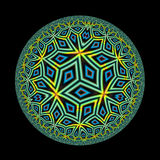 Circular Pattern. An abstract circular illustration with an abstract pattern done in shades of green orange, blue, and black Stock Photo