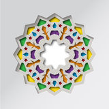 Circular pattern in arabesque style. Colored star on grey background. Oriental Mandala. Lotus. Stock Images