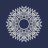 Circular pattern in Asian intersecting lines style. Eight pointed mandala in snowflake form. On dark background vector illustration