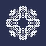 Circular pattern in Asian intersecting lines style. Eight pointed mandala in snowflakes form on dark background.  royalty free illustration