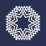 Circular pattern in Asian intersecting lines style. Eight pointed mandala in snowflakes form on dark background.  stock illustration