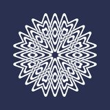 Circular pattern in Asian intersecting lines style. Eight pointed mandala in snowflakes form on dark background.  vector illustration