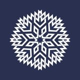 Circular pattern in Asian intersecting lines style. Eight pointed mandala in snowflakes form. On dark background royalty free illustration