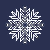Circular pattern in Asian intersecting lines style. White eight pointed mandala in snowflake form on blue background.  vector illustration