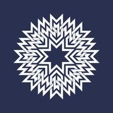 Circular pattern in Asian intersecting lines style. White eight pointed mandala in snowflake form on blue background.  stock illustration