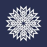 Circular pattern in Asian intersecting lines style. White eight pointed mandala in snowflake form on blue background.  royalty free illustration