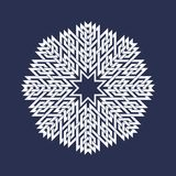 Circular pattern in Asian intersecting lines style. White eight pointed mandala in snowflake form. On blue background vector illustration