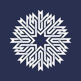 Circular pattern in Asian intersecting lines style. White eight pointed mandala in snowflake form. On blue background royalty free illustration