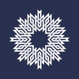 Circular pattern in Asian intersecting lines style. White eight pointed mandala in snowflake form. On blue background stock illustration
