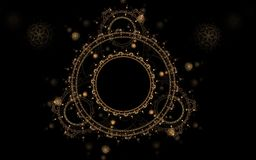 Circular pattern on a black background. Round abstract design fractal golden color with dark stars in the background and patterned balls on a black background royalty free illustration