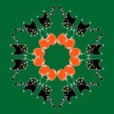 Circular pattern cat. Cat in circular pattern, illustration Stock Illustration