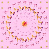 Circular pattern of colored horses, abstract floral ornament. Light pink vanilla background Royalty Free Stock Photo