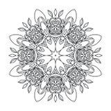 Circular pattern drawn flowers monochrome contour Stock Image