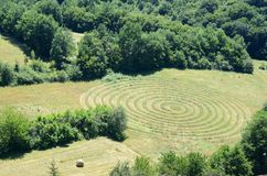 Circular pattern in a field. Of mown grass stock images