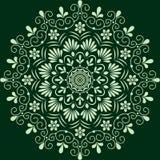 Circular pattern floral monochrome. Dark green Royalty Free Stock Images