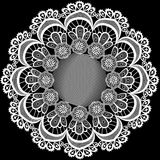Circular pattern with flowers from lace Stock Image