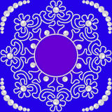 Circular pattern with flowers made of pearls and place for Stock Image