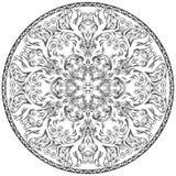 Circular pattern in form of mandala for Henna, Mehndi, tattoo, decoration. stock illustration
