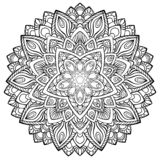 Circular pattern in form of mandala for Henna, Mehndi, tattoo, decoration royalty free illustration