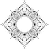 Circular pattern in form of mandala for Henna, Mehndi, tattoo, decoration. Decorative ornament in ethnic oriental style royalty free illustration