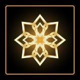 Circular pattern. Geometric icon. Eight pointed gold figure on black background. Modern style. Vector illustration. Simple symbol. Mandala. Logo. Fashion Stock Photography
