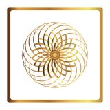 Circular pattern. Geometric icon. gold flower symbol on black background. Modern style. Vector illustration. Simple symbol. Mandal Royalty Free Stock Images