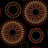 Circular pattern Hohloma seamless on a black. vector illustration Royalty Free Stock Photos