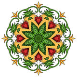 Circular pattern of leaves and rubies. Vector doodle element for your creativity vector illustration