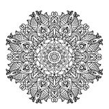 Circular pattern mandala with elements of ethnic animal style coloring page   illustration Stock Photo