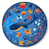 Circular pattern with marine life. Bright blue circular pattern - plate. Shells, fish, deep-sea animals of the sea and ocean. Beautiful marine aquarium. Isolated Stock Image