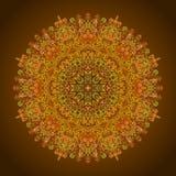 Circular pattern mehendi multicolor thin line glowing orange hue.  Stock Image