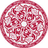 The circular pattern with motifs of Chinese painting. Mandala of white flowers on a red background. Royalty Free Stock Image