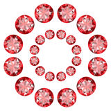 A circular pattern of red diamonds on a white background. Vector Royalty Free Stock Photography