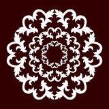 A circular pattern of white color on a dark red background. Vector Stock Image