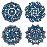 Circular patterns with blue openwork ornament Stock Photos