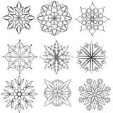 Circular patterns. The group monochrome circular patterns on white background Stock Photos