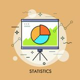 Circular pie chart or diagram on whiteboard. Statistics, statistical report, data, analysis and economic indicators. Concept. Vector illustration for brochure Stock Images