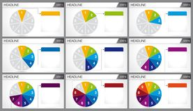 Circular pie divided into 9 equal parts are illuminated in sequence on white background. Elements for infographics, use in presentation. Vector image Stock Image