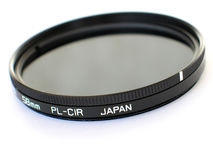 Circular Polarizer. A 58mm made-in-Japan circular polarizing filter stock image