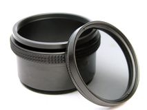 Circular polarizer filter and adapter Stock Photo