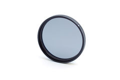 Circular polarizing pro filter on white Royalty Free Stock Images