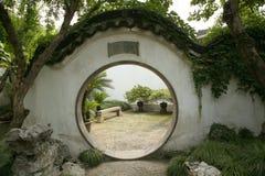 Circular port in chinese garden. Circular port in ancient chinese garden Stock Photos